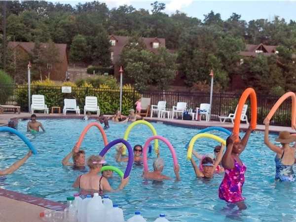 Water aerobics in the Pavilion pool at StoneBridge Village