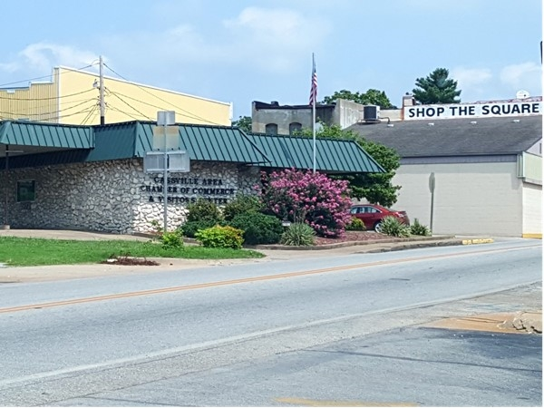The Cassville Chamber of Commerce is located on Main Street across from Arvest Bank