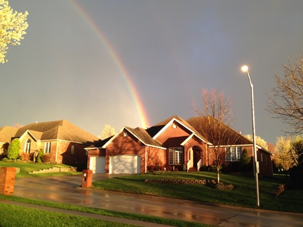 A beautiful double rainbow above my neighbors home in Fox Grape!