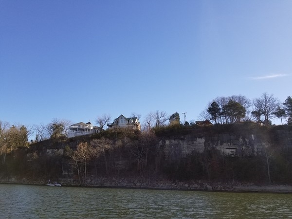 Cabins on the bluff across from Eagle Rock Marina