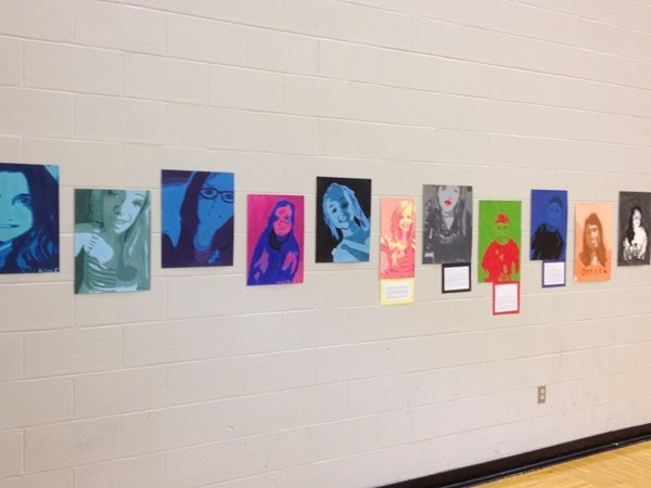 Seventh grade high contrast portraits on display in Lafayette Co C-1 Middle School