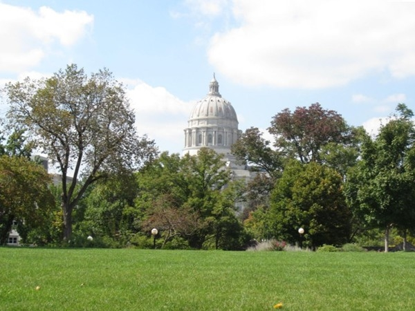 View of Capitol Building dome over Governor's Mansion lawn