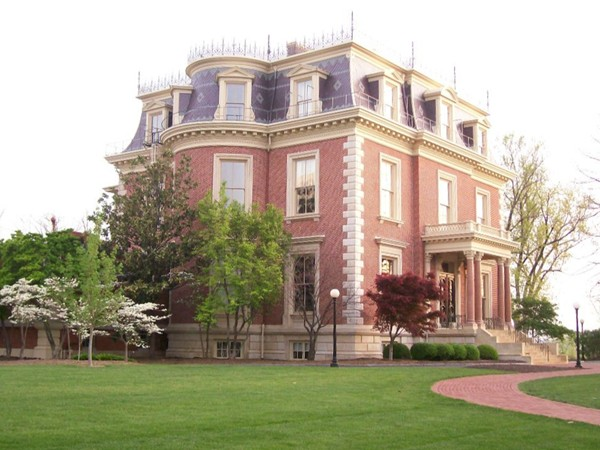The Missouri Governor's Mansion, sitting on a bluff in Jefferson City overlooking the Missouri River