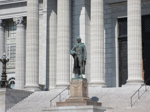 Thomas Jefferson statue greets visitors along the south side of the Capitol Building