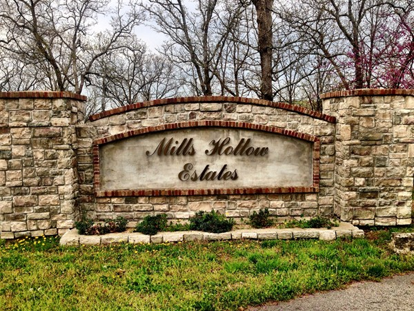 Entrance to beautiful Mills Hollow Estates