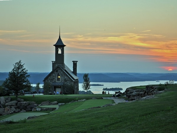 The Chapel at Top of the Rock Golf Course at sunset