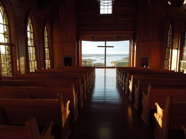 View from inside the church at Top of the Rock in Branson