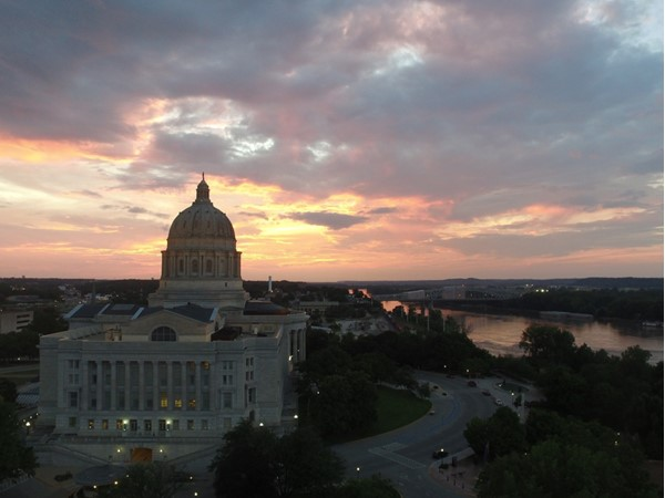 A June sunset casted its beautiful reflection onto the Capital building and the Missouri River