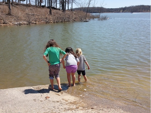 Ready to swim! Dipping their toes in to test the water...tired of waiting for warm water