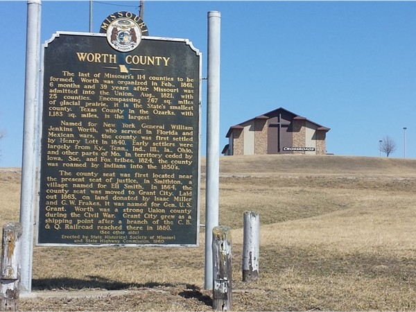 Worth County historical sign.