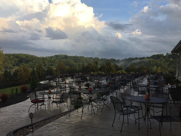 The beautiful Holts Summit Winery welcomes a rainshower to cool down a muggy summer afternoon