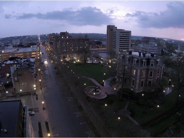 Gorgeous drone photo of Downtown Jefferson City. Sunset after a thunderstorm