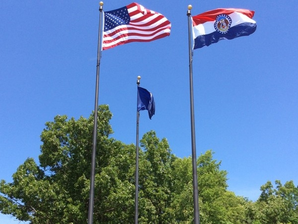 Flags mark the Boy Scouts Center and Museum in Springfield