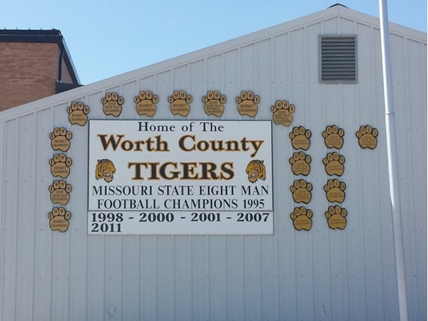 Worth County Tigers sign displaying awards and championships