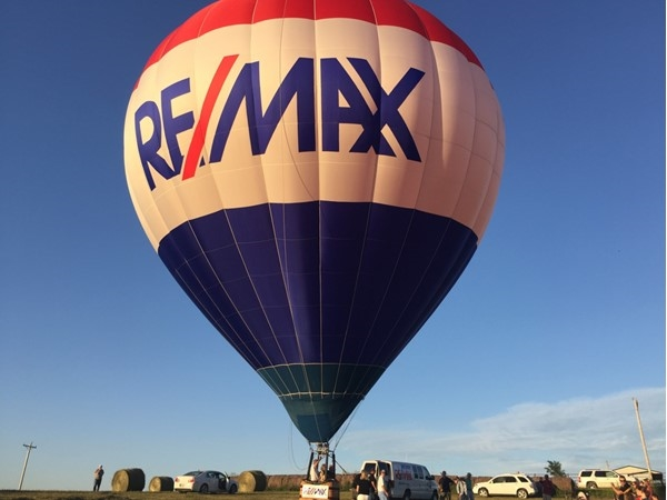 RE/MAX hot air balloon getting ready for take off