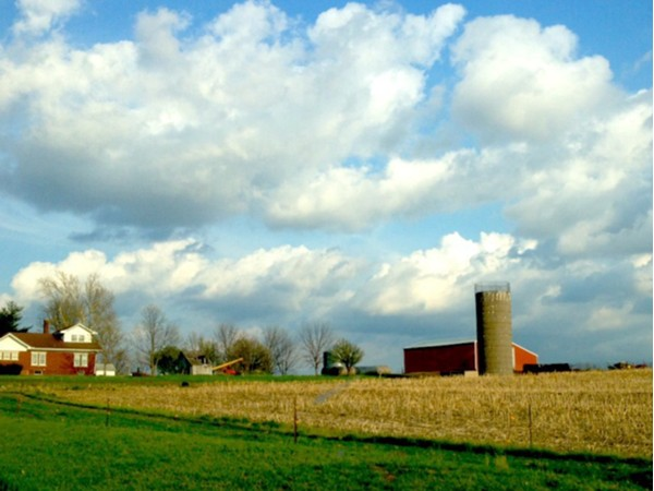 Beautiful sky over a farm west of town
