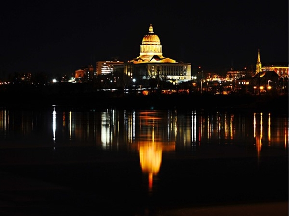 The Capitol building offers a magnificent site looking over the Missouri River.