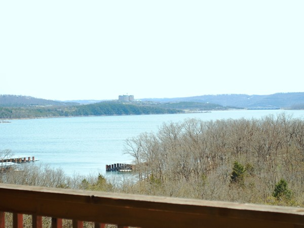 You can see across the lake from a deck at Indian Point Lodge to Table Rock Dam!