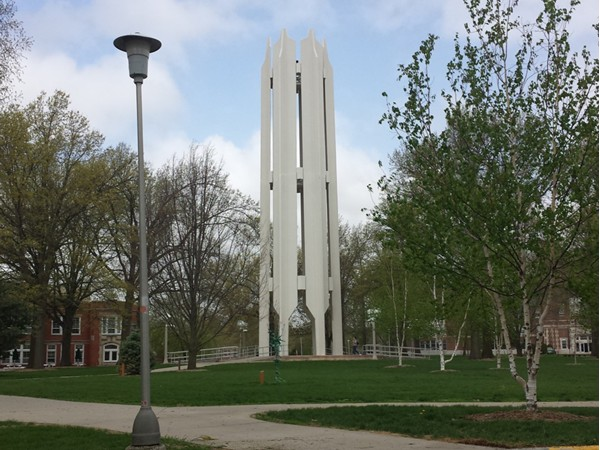 Memorial Bell Tower on the campus of Northwest Missouri State University
