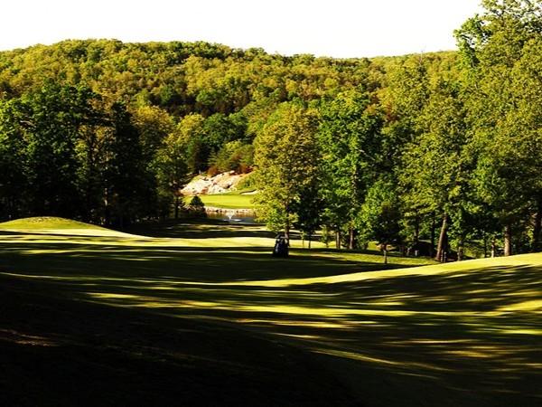 Early morning shadows on #18 at Ledgestone Golf Club