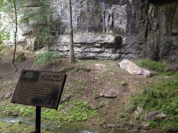 Marker outside Smallin Civil War Cave entrance
