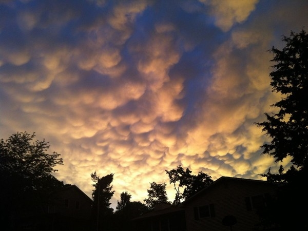 Stunning display of mammatus clouds after a storm over Southwest Boulevard