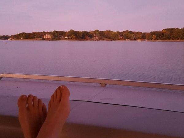 Dreamy pink fall sky over Lake Viking. So long boating season 2015, see you in April