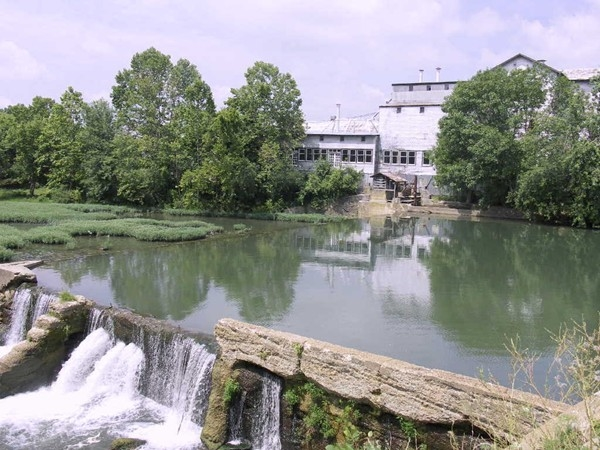Ozark Mill and waterfalls at the Finley River