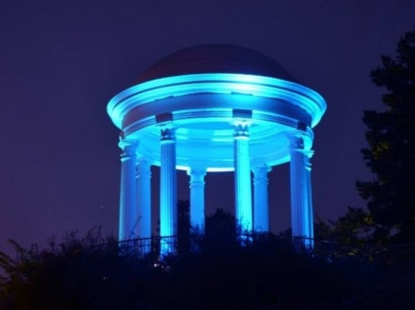 The dramatic Sibyl Temple at night