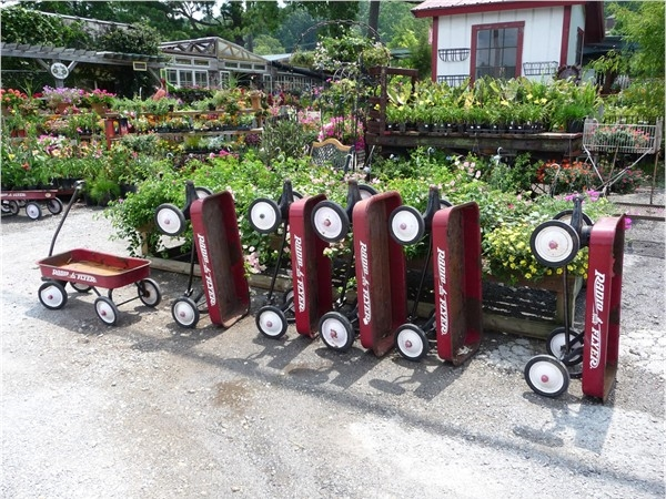Little red wagons at Myers Plants and Pottery in Pelham