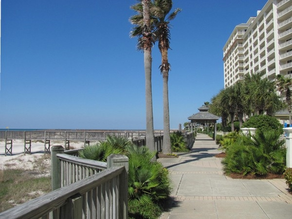 There's lots of green space with lush landscaping and winding boardwalks at The Beach Club!