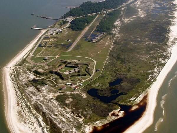 Aerial view of Fort Morgan