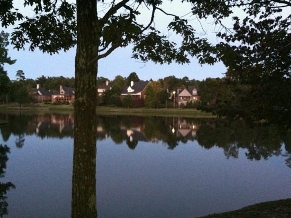 Greystone Farms neighborhood lake at sunset