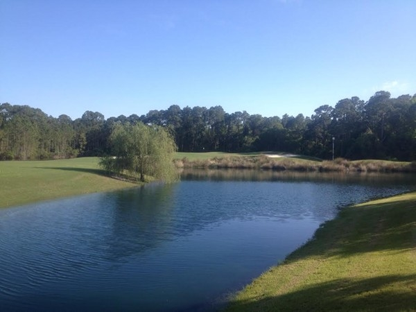 Number two green on the Lakes Course, one of 27 gorgeous golf holes at The Peninsula.