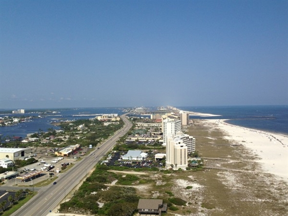A breathtaking view of Orange Beach and Alabama Point from the top floor of Turquoise Place Condos.