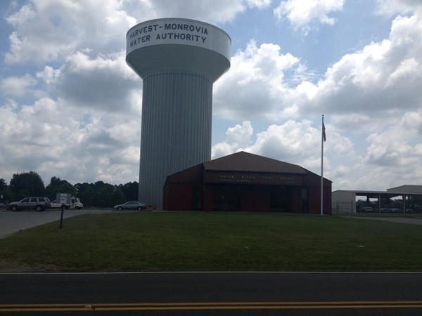 Post Office and water tower in Harvest, AL