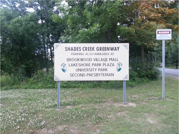 Shades Creek Greenway is a 2.5 miles long trail, stretching from Lakeshore to Brookwood Mall