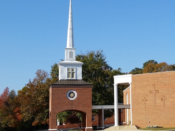 Indian Springs First Baptist Church.  It's Steeple is a landmark along Highway 119