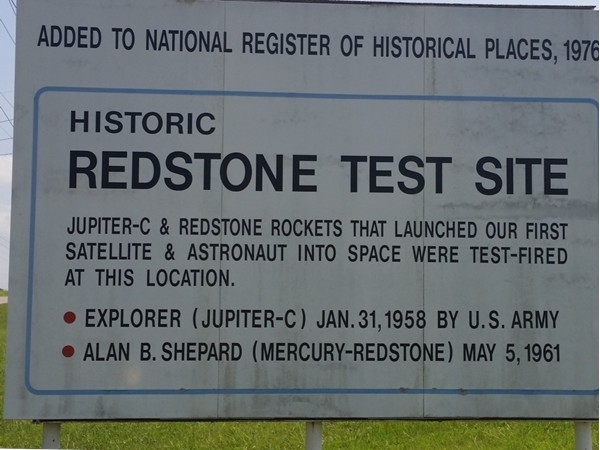 Beginning of history for space flight located on Redstone Arsenal!