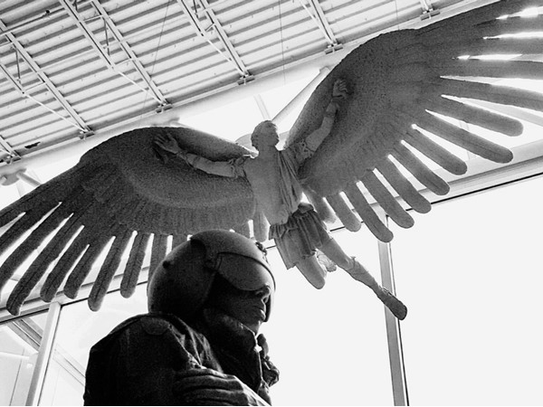 Soldier statue, with Icarus above, grace the entrance to the Army Aviation Museum on Fort Rucker
