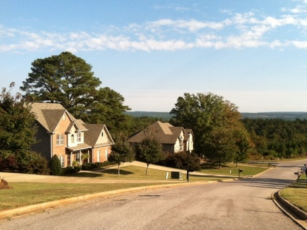 Street view of homes in the community of Weatherstone