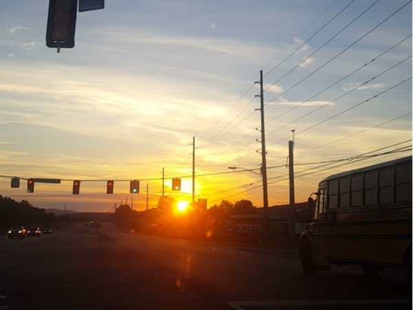 Early morning traffic isn't always bad. Enjoying the little things, like a Huntsville sunrise