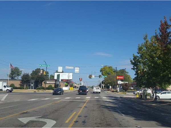 Five Points, where five different roads intersect in Huntsville