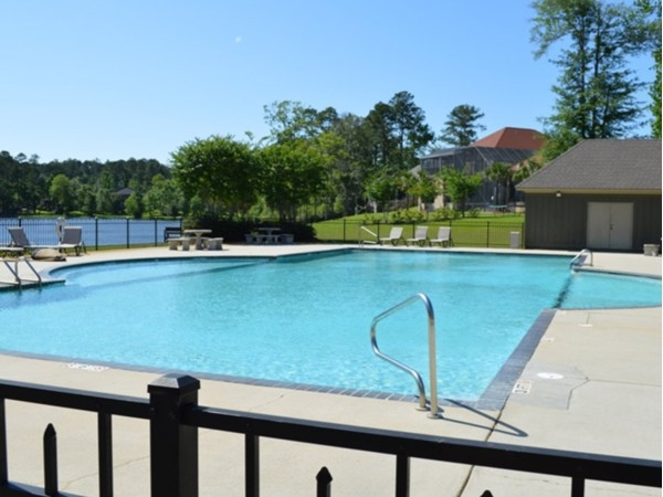 The large swimming pool overlooking the lake and adjoining the club house in Stillwater