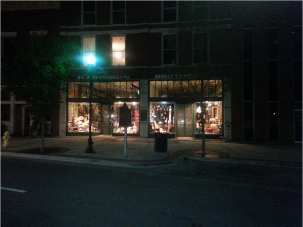 Historic Harrison Brothers Hardware in downtown Huntsville on a beautiful spring evening