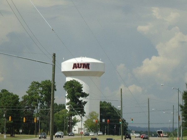 Classic view of water tower at Auburn University at Montgomery and the horizon at a distance
