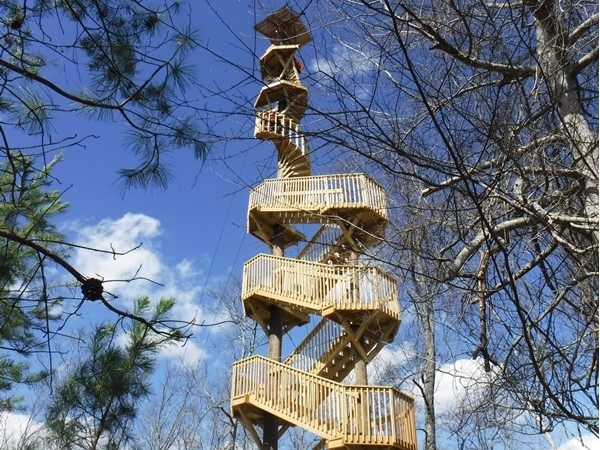 The new zip line tower for Screaming Eagle Aerial Adventures at Guntersville State Park