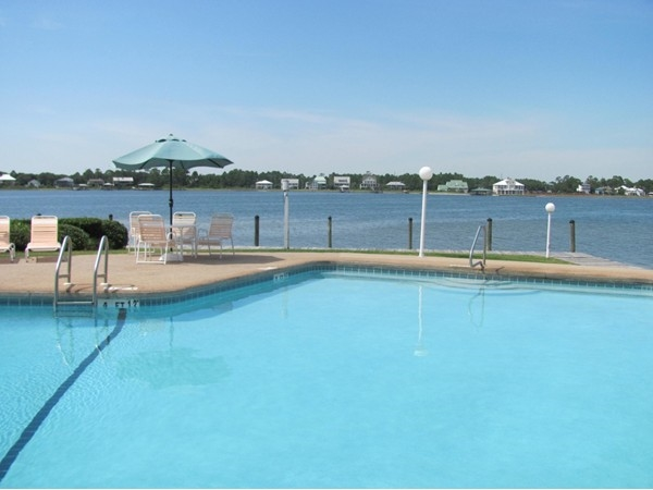 Unique lagoon front pool....One of the many nice amenities at Compass Point Condominiums