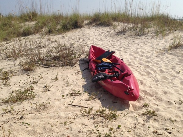 Kayak at Fort Morgan Beach