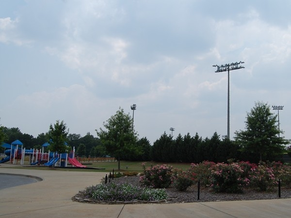 Playground area and entrance to Veterans Park